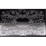 Deluxe Stainless Steel Metal Business Credit Card Holder Case Silver Monogram