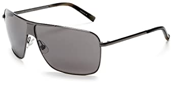 Cole Haan Men's C704 Stamped Metal Sunglasses,Gunmetal Frame/Smoke Lens,one size