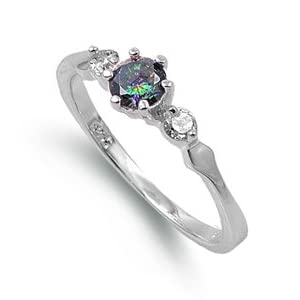 Rhodium Plated Sterling Silver 6mm Rainbow Topaz & Cz Ring (Size 4 - 9)