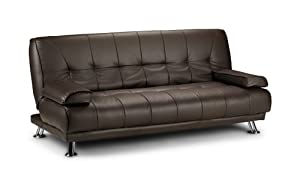 Venice Faux Leather Sofa Suite Sette Sofabed with Chrome Feet (Brown) by Humza Amani