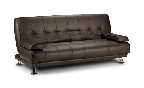 Venice Faux Leather Sofa Suite Sette Sofabed with Chrome Feet (Brown)
