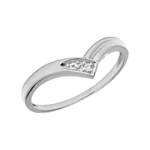 14K White Gold Diamond Chevron Ring (Size 11)