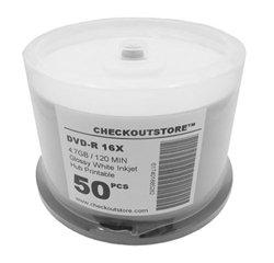 100 Premium 16X DVD-R 4.7GB GLOSSY White Inkjet Hub Printable