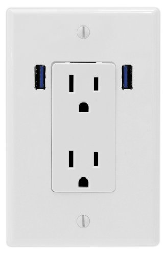 U-Socket Ace-8166 15-Amp Ac Decor Duplex Wall Outlet With Built-In Usb Charger Ports, White