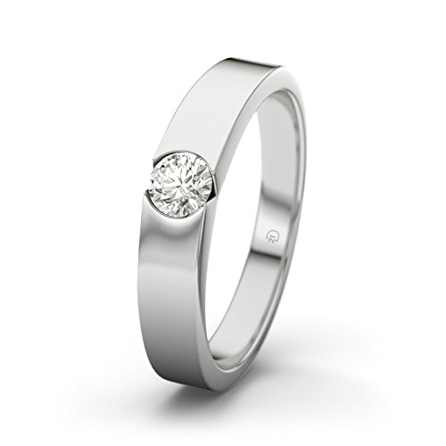 21DIAMONDS Women's Ring Jessica VVS1 0.15 CT Brilliant Cut Diamond Engagement Ring - Silver Engagement Ring