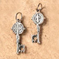 Double Sided Key - Saint Benedict Oxidized Medal - .75