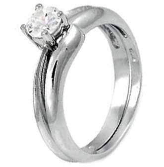 Sterling Silver Wedding Ring Set With Round Cubic Zirconia in Classic Solitaire Setting