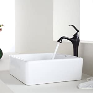Kraus C-KCV-120-15000ORB White Square Ceramic Sink and Ventus Faucet, Oil Rubbed Bronze