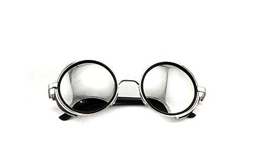 Vintage 50s Steampunk Round Mirror Lens Glasses Sun Glasses Men Women Unisex Retro Style Glasses Circle Frame Blinder Sunglasses Cyber Goggels Eyeglasses Eyewear Grey 3