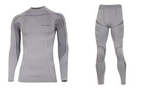 Thermo SET sous-vêtement de Ski de fonction (maillot + pantalon) long - Bodymapping, sans couture, qualité de professionnel, Größe:L; Farbe:gris