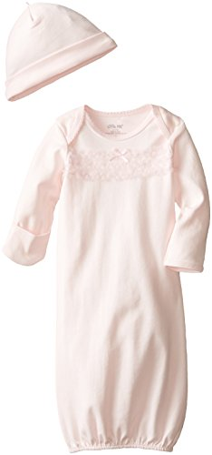 Little Me Baby-Girls Newborn Rosette Heart Gown and Hat, Light Pink, 0-3 Months Gown Hat