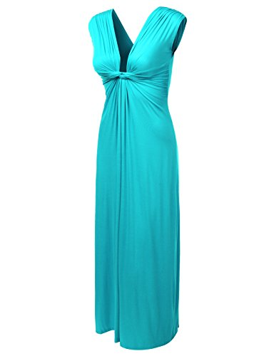 J.Tomson Womens Short Sleeve Jersey Maxi Dress With Shirring Detail Jade Large