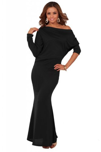 Womens Blouson Formal Seamless Solid Color Off Shoulder Long Sleeve Maxi Dress