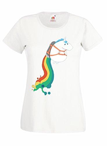 Settantallora - T-shirt Maglietta donna J1196 Crazy Unicorn Fun Taglia M