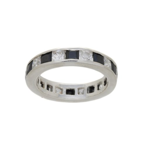 SILVER WHITE & BLACK CUBIC ZIRCONIA ETERNITY RING
