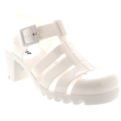 Womens Buckle Jelly Festival Vacation Retro Gladiator Mid Heel Sandals - White - 8 - 39 - CD0112 (Heeled Jelly Sandals compare prices)