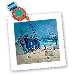 3dRose LLC qs_8484_1 Vintage United States Coast Guard Rescue Quilt Square, 10 by 10-Inch