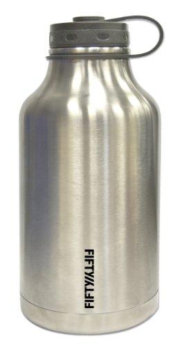 Lifeline 7500 Silver Stainless Steel Growler - 64 oz. Capacity