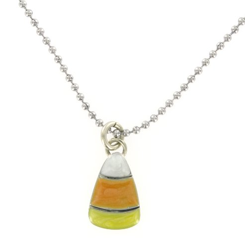 Candy Corn Enameled Silver Pendant Necklace