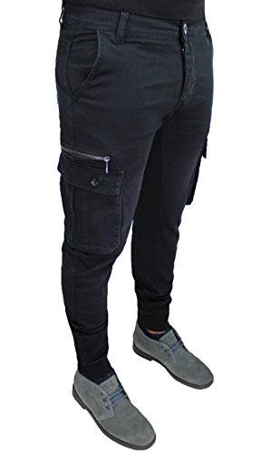 Pantaloni jeans uomo nero cargo slim fit casual con tasconi laterali taglia 40 42 44 46 48 50 (42, nero)
