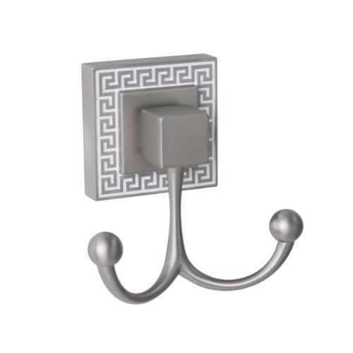 Elegant Home Fashions Hw3062 Greek Key- Towel Double Hook- Brushed Nickel
