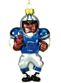 Detroit Lions Blown Glass Football Player Ornament by Hall of Fame Memorabilia