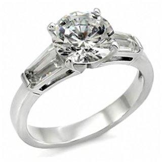 Michaela's Round Imitation Diamond Stainless Steel Promise Ring - 9