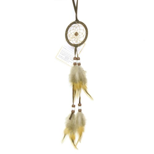Miniature Earthtone Brown Dreamcatcher, Beads & Feathers, 8-inch