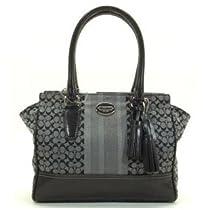 Hot Sale Coach Legacy Signature Stripe Candace Carryall Handbag Purse 19915 Black Grey