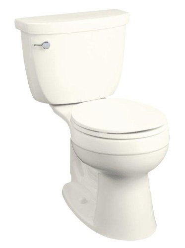 Kohler K-3887-96 Cimarron Comfort Height Two-Piece Round-Front Toilet with Left-Hand Trip Lever, Less Seat, Biscuit