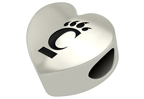Cincinnati Bearcats Sterling Silver Heart Bead Fits Most European Style Bracelets