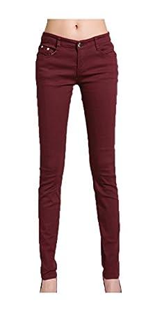 niceeshop(TM) Women Fashion Pencil Pants Casual Elastic Leggings Jeans (Wine Red,S)