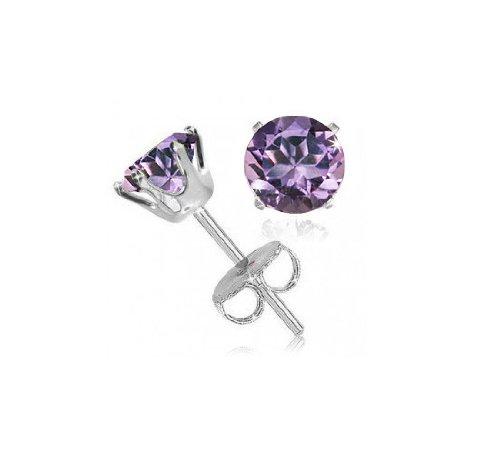 Sterling Silver 2 Carat Amethyst Studs Earrings