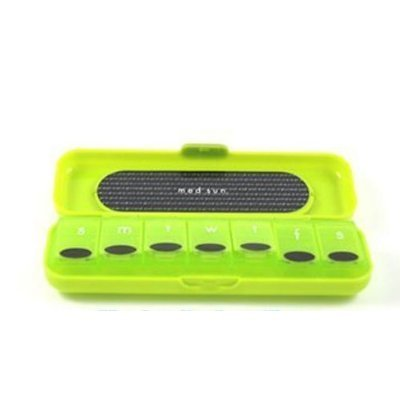 Med Sun 7 Day Pill Organizer Color is Green Protective Case Snaps Closed to Secure Pills