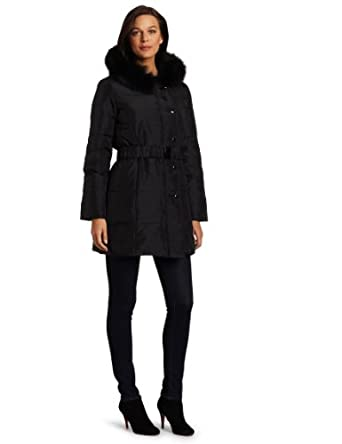 Via Spiga Women's Cesenia Luxurious Fur Trimmed Hooded Down Coat, Black, X-Small