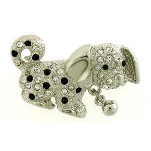 Platinum-Plated Swarovski Crystal Puppy Dog Brooch/Pin