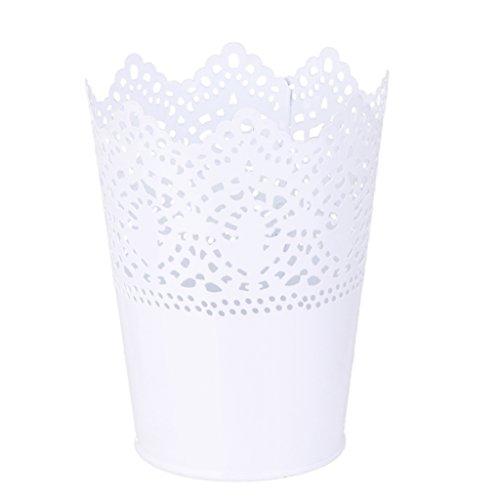 Metall-Schneiden-Pflanze-Vase-Topf-Stift-Make-up-Brstenhalter-Schreibtisch-Ordentlich-Organizer-Veranstalter-Aufbewahrungskorb-Weiss