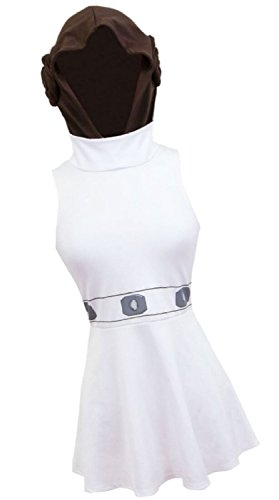 Princess Leia Costume -- Star Wars Cosplay Hooded Dress With Buns, Medium