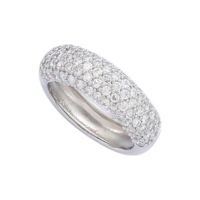 Sterling Silver Clear Cubic Zirconia Half Eternity Wedding Band Ring - Size 5