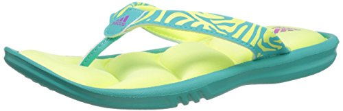 adidas Performance Chilwyanda FITFOAM K Thong Sandal (Little Kid/Big Kid), Vivid Mint/Yellow/Pink, 3 M US Little Kid