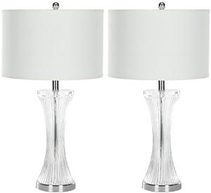 Safavieh Lighting Collection Jacob Curved Glass Table Lamp, Set of 2