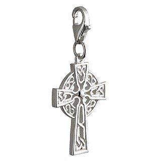 Sterling Silver Celtic Cross Charm and Lobster Catch-Made in Ireland
