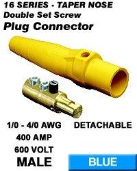 Leviton 16D24-B Single Pole Cam Type Plug Detachable Male Double Set Screw Complete 16 Series Taper Nose 1/0-4/0 Awg 400 Amp - Blue (Pkg Of 10)