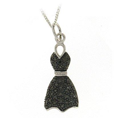 DiamondsByDruce Perfect 9 ct White Gold Ladies Pendant + Chain with Black Diamond 0.10 Carat - 4mm*9mm