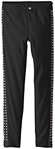 Dream Star Big Girls' Ponte Pant with Stud Side Stripe, Black, Medium