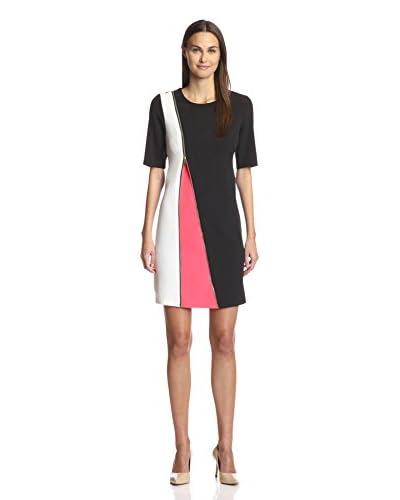 Sandra Darren Women's Sheath Dress  [Black/Ivory/Pink Beaches]