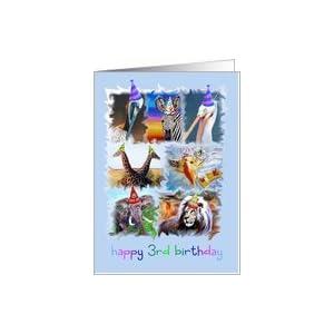 Amazon.com: Happy 3rd Birthday Zoo Animals Card: Toys &
