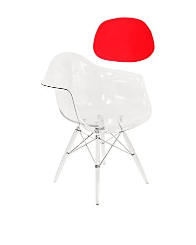 Control Brand X-Leg Arm Chair with Pad, Clear/Red