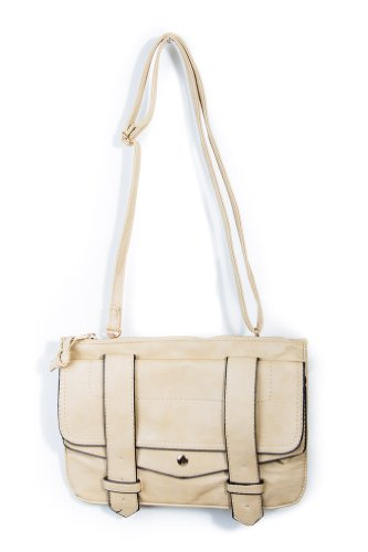 Strapped Up Outlined Satchel in Beige