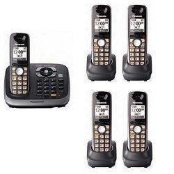 Panasonic KX-TG6545SK DECT 6.0 PLUS Expandable Digital Cordless Phone with Answering System, Black, 5 Handsets (Panasonic Dect 6 Plus compare prices)